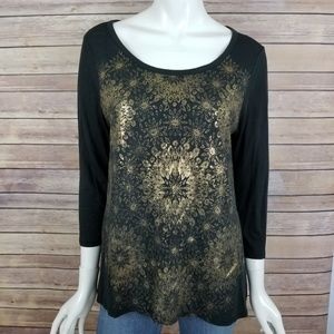 Lucky Brand Gold Pattern Top
